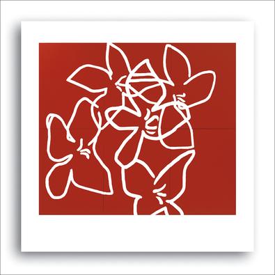Nicolas Le Beuan Benic Fleurs blanches sur fond rouge, 2003