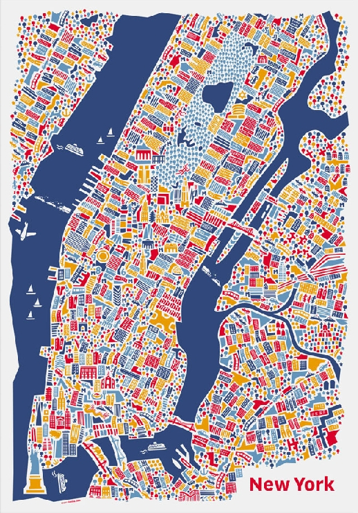 new york stadtplan poster vianina poster kunstdruck bild 100x70cm portofrei ebay. Black Bedroom Furniture Sets. Home Design Ideas