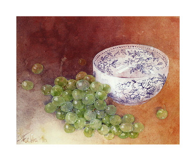 Shirley Felts 2er Set 'Still Life with Grapes' + 'Still Life with Fruit and Bamboo'