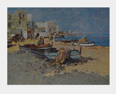 Wilhelm Thelen Boote im Schatten (Ischia)
