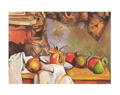 Paul Cezanne Strohvase und Teller mit Fruechten