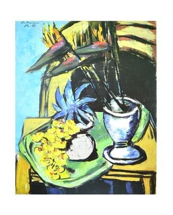 Max Beckmann Stilleben mit Strelizien und gelben Orchideen
