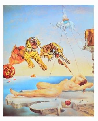 Salvador Dali Traum, verursacht durch den Flug einer Biene um einen Granatapfel, eine Sekunde vor dem Aufwachen