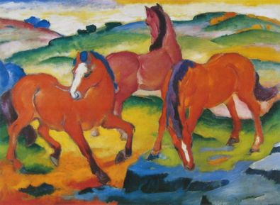 Franz Marc Die grossen roten Pferde   1911