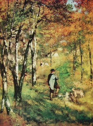 Pierre Auguste Renoir Der Maler Lecour im Walde von Fontainebleau