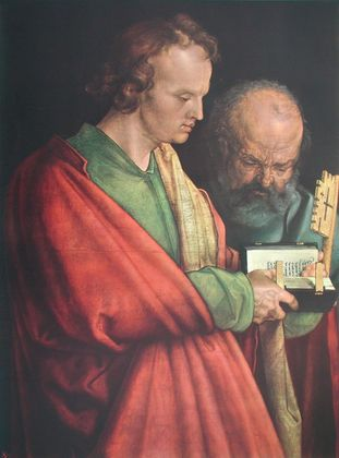 Albrecht Duerer Johannes und Petrus (Ausschnitt aus 4 Apostel)