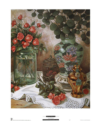 Francie Botke Roses with Bird Cage