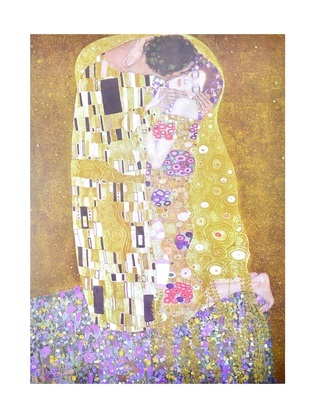 gustav klimt der kuss poster kunstdruck bild im alu rahmen schwarz 80x60cm ebay. Black Bedroom Furniture Sets. Home Design Ideas