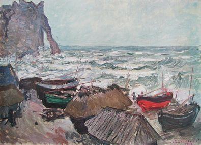 Claude Monet Fischerboote am Strand von Etretat