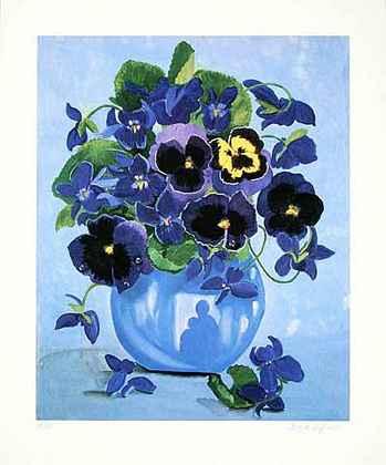Brigitte P. Hoff Blaues Blumenstilleben (2000)