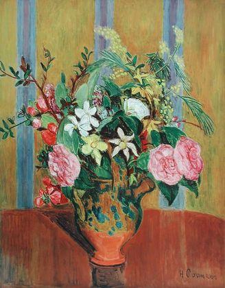 Hans Purrmann Blumen auf gelbem Grund