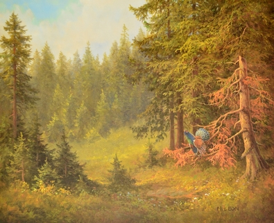 N. Leon Landschaft mit Auerhahn