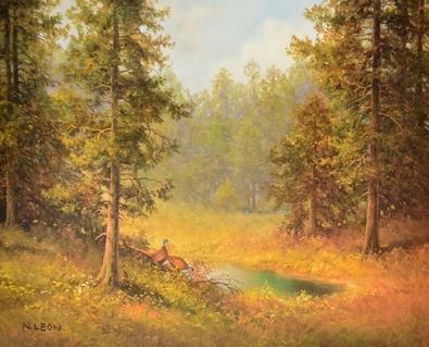 N. Leon Landschaft mit Fasan