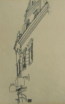 Egon Schiele Alte Giebelhaeuser in Krumau   1917