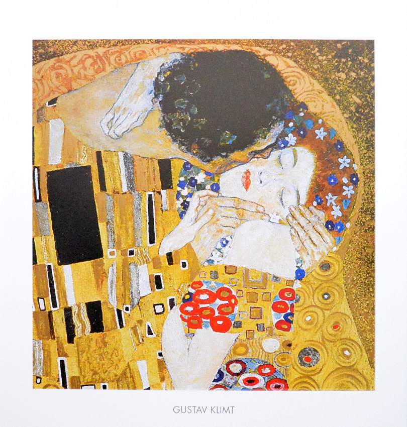 gustav klimt der kuss poster kunstdruck bild 50x50cm ebay. Black Bedroom Furniture Sets. Home Design Ideas