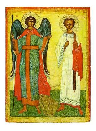 Nowgoroder Schule Der Erzengel Michael mit dem Erzdiakon Stefan