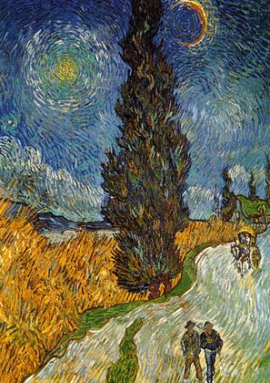 Vincent van Gogh Landstrasse mit Zypresse und Ste