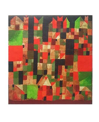 Paul Klee Städtebild - rot/ grüne Akzente