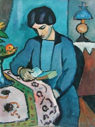 August Macke Lesendes Maedchen in Blau