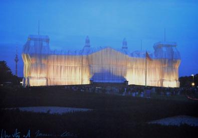 Christo und Jeanne-Claude Reichstag Vorderseite nachts,  handsigniert