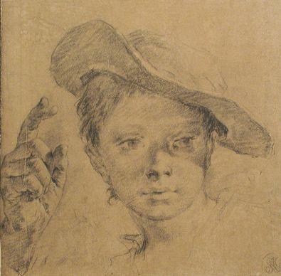 Giovanni Batista Piazetta Kopf eines jungen Maedchens mit Hut
