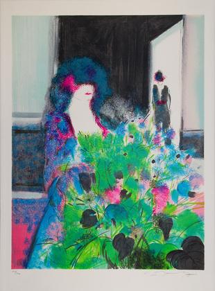 Claude Manoukian Femme et fleurs