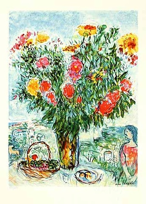 Marc Chagall Der grosse Blumenstrauss, steinsigniert
