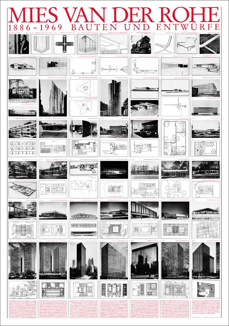 Ludwig Mies Van Der Rohe Bauten Und Entwuerfe Architektur Plakat