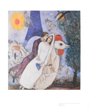marc chagall brautpaar mit eiffelturm poster kunstdruck. Black Bedroom Furniture Sets. Home Design Ideas