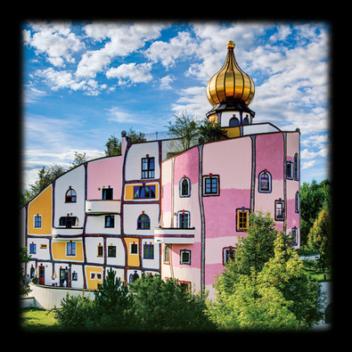 Hundertwasser thermendorf bad blumau poster kunstdruck bei for Hundertwasser architektur