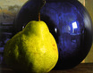 Gold adele pear with blue vase medium