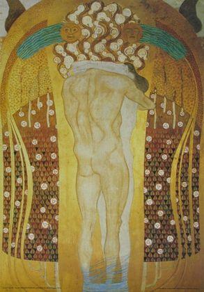 Gustav Klimt Umarmung   Ausschnitt aus dem Beethovenfries