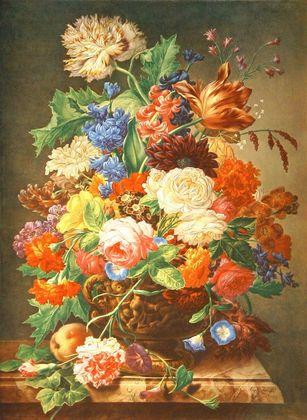 Nigg Joseph Blumen auf Marmorplatte