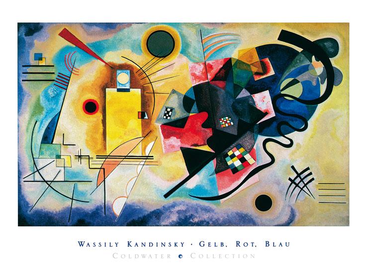kandinsky gelb rot blau mit schrift poster kunstdruck bei. Black Bedroom Furniture Sets. Home Design Ideas