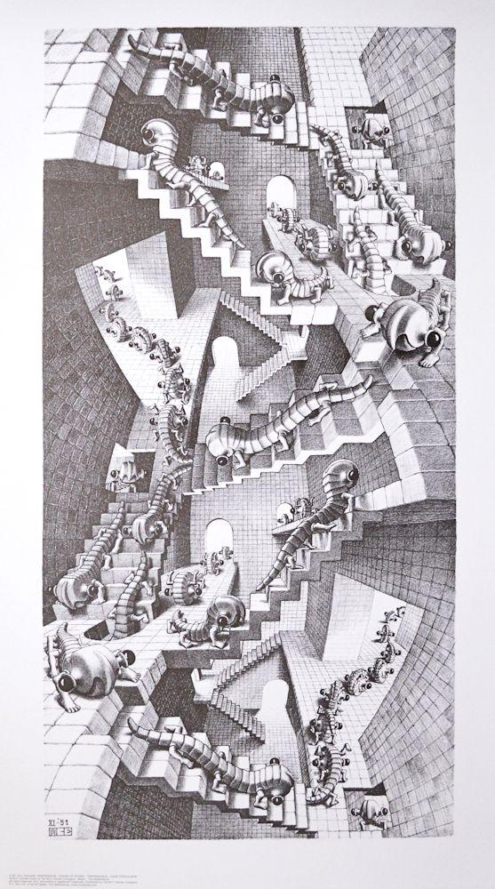MC Escher Pfütze Poster Kunstdruck Bild 55x65cm