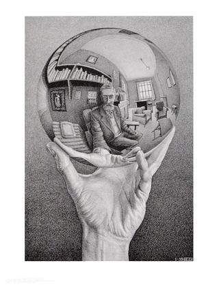 MC Escher Hand mit Kugel