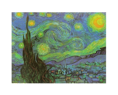 vincent van gogh sternennacht poster bild kunstdruck alurahmen schwarz 24x30cm ebay. Black Bedroom Furniture Sets. Home Design Ideas