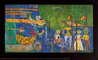 Friedensreich Hundertwasser Paradies Land der Menschen Voegel und Schiffe