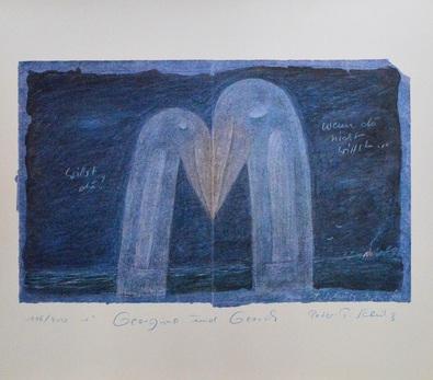 Peter-T Schulz Storchenliebe Blau (Perlmutt)