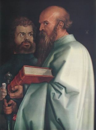 Albrecht Duerer Paulus und Markus (Ausschnitt aus 4 Apostel)