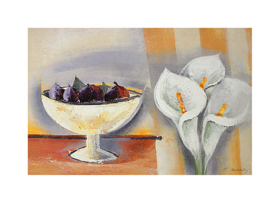 Francoise Conzales 2er Set 'Stripes and Callas' + 'White Flowers and Stripes'