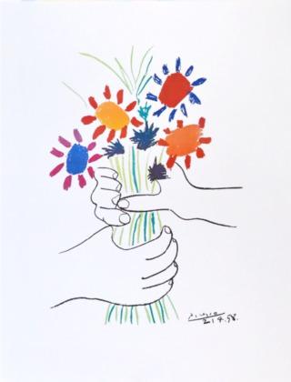 Pablo Picasso Blumenstrauss in der Hand
