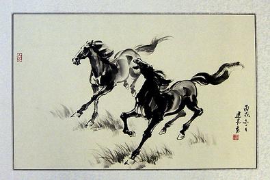 Jian Liang Gu China 2 Pferde