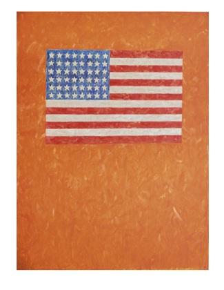 Jasper Johns Flag on Orange Field