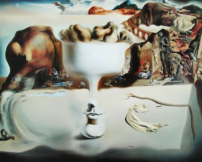 salvador dali apparition of face and fruit dish on a beach. Black Bedroom Furniture Sets. Home Design Ideas