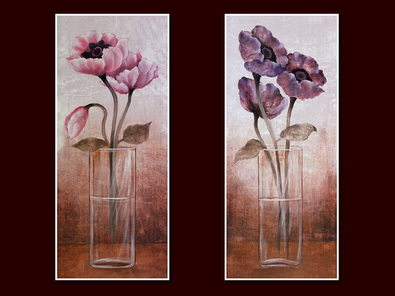 Janet Tava 2er Set 'Poppies in Vase I + II'