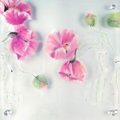 Annelies Buergin Blumen auf Plexiglas Rose