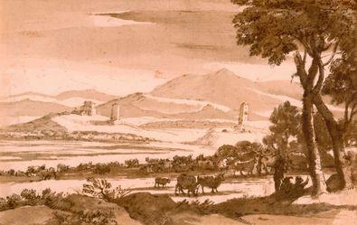 Claude Lorrain Landschaft mit Tuermen und Herde