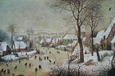 Pieter Brueghel Winterlandschaft mit Vogelfalle  1601
