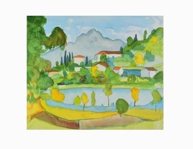 Hermann Hesse Bergdorf im Tessin (am Agno-See)  1928